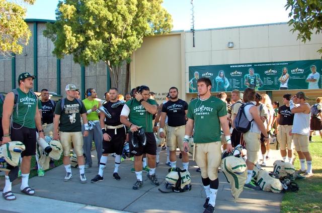 The team waits to walk down to Alex G. Spanos Stadium