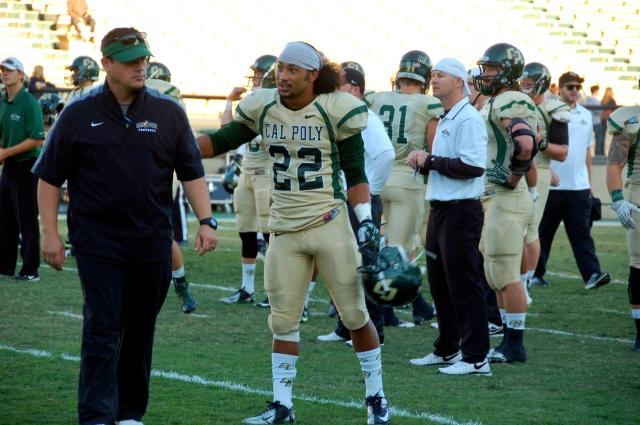Coach Brown and senior defensive back, Alex Hubbard
