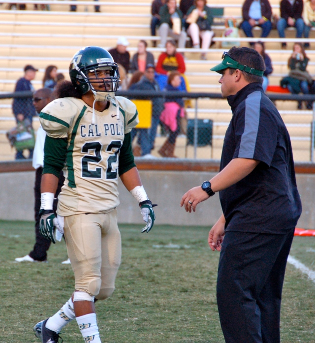 Senior DB Alex Hubbard and Coach Brown