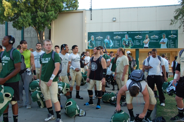 The team waits to walk down to the stadium