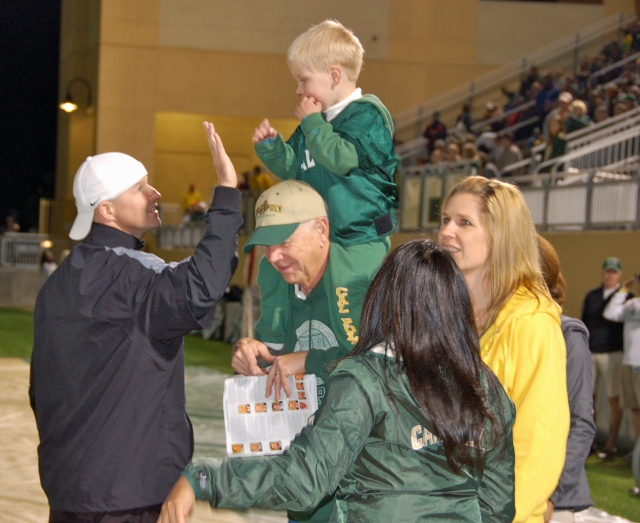 Coach Fendall gives Bodie a high-five!