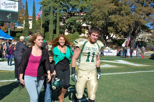 Senior captain and linebacker, Johnny Millard with his family