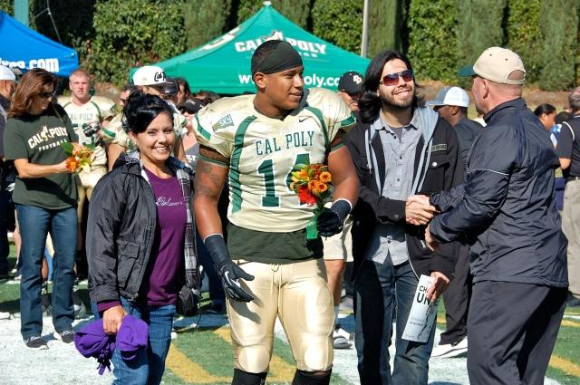 Senior linebacker Xavier Ramos with his family