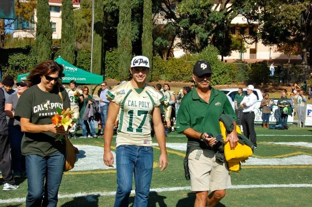 Senior defensive back Matt Reza with his parents