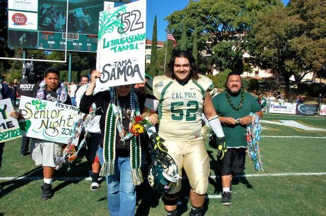 Senior offensive lineman, Lefi Letuligasenoa and his family