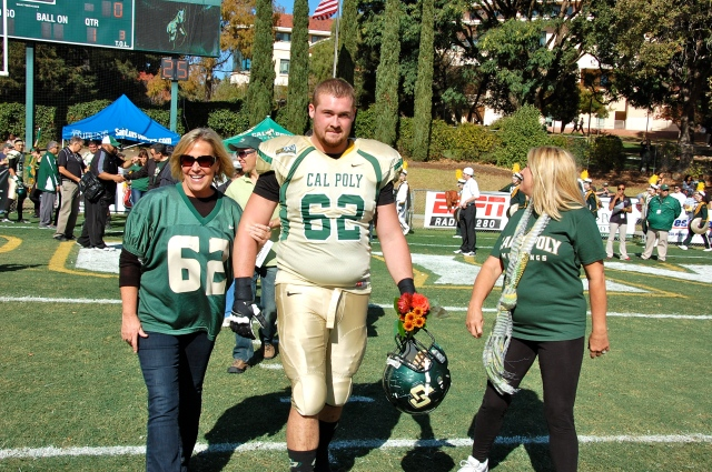 Senior offensive lineman Mike Freeman and his family