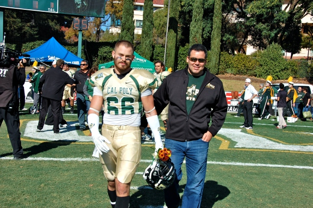 Senior linebacker Michael Santini and his family
