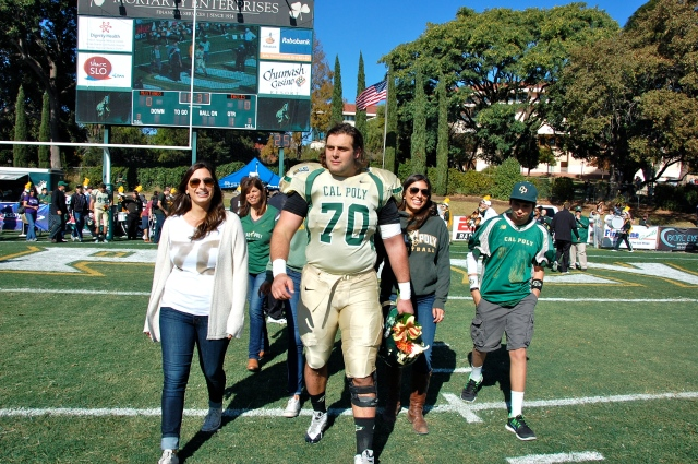 Senior offensive lineman, Giovanni Sani and his family