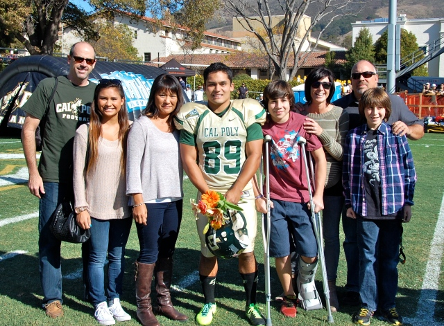 Senior placekicker Bobby Zalud and his family