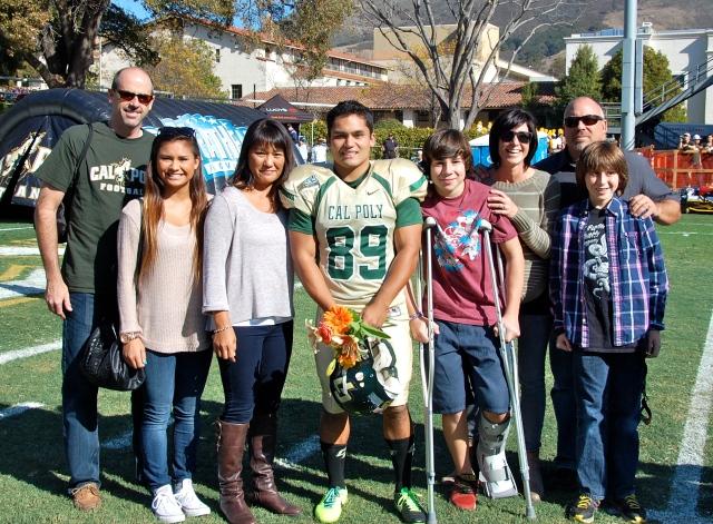 Senior placekicker Bobby Zalud and his family