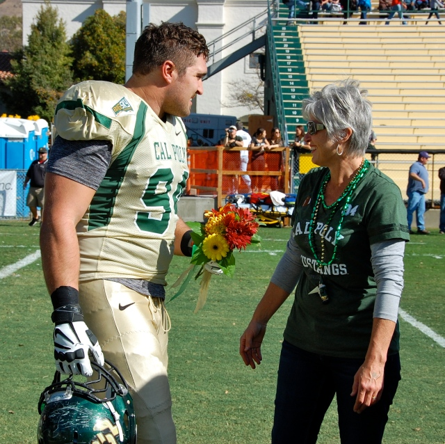 Senior captain and defensive lineman, Sullivan Grosz and his mother