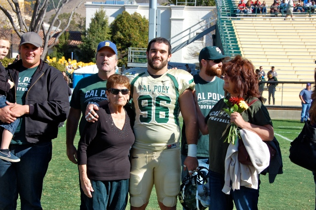 Senior defensive lineman Nick Leyden and his family