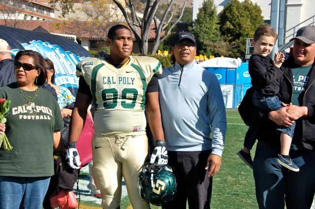 Senior defensive lineman Barrett Wangara and his family