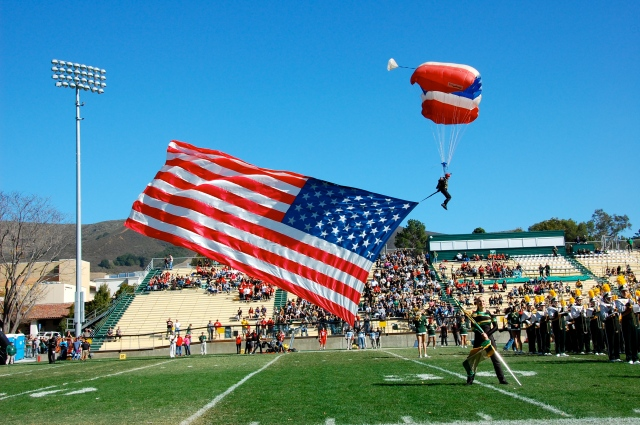 The skydiver is always an exciting part of the Cal Poly football games!