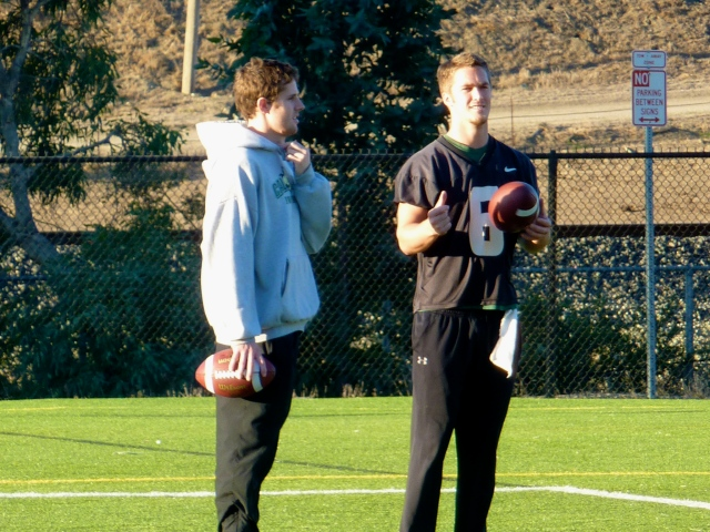 Former Cal Poly quarterback Doug Shumway and senior quarterback Kenny Johnston